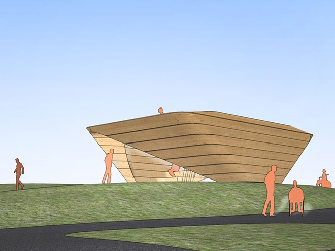 """Preliminary design for Meejin Yoon's """"StepWell."""" This work will be joined by a second public art installation as part of Riverfront Park's renovation. - COURTESY OF SPOKANE ARTS"""