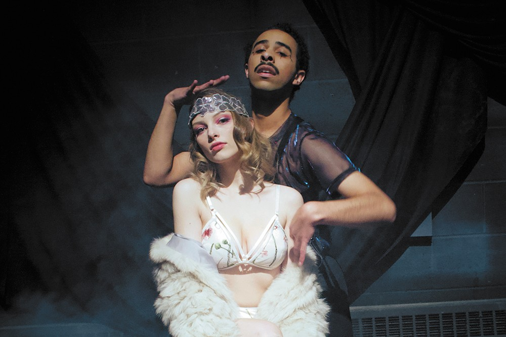 Aubree Peterson (front) as Sally Bowles and Mathias Oliver as the emcee in Spokane Civic's Cabaret.