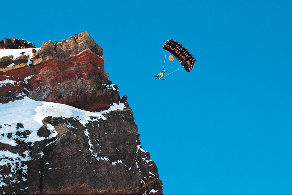 Matthias Giraud skis right off a peak in Super Frenchie.
