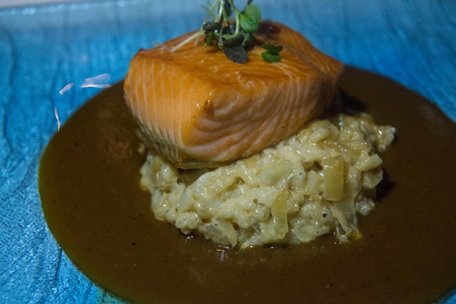 """House cured and smoked Canadian king salmon served over a caramelized sauerkraut, creamy risotto and a sauce au poivre."" - DANIEL WALTERS PHOTO"