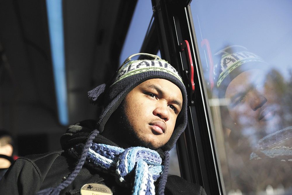 Tiar Atoigue headed home from work at Coeur d'Alene Casino Resort Hotel. - YOUNG KWAK PHOTO