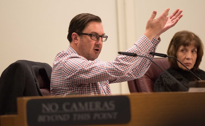"Ben Stuckart argues during a 2018 City Council meeting that the city needs to grow ""up"" if it's not willing to grow ""out."" - DANIEL WALTERS PHOTO"