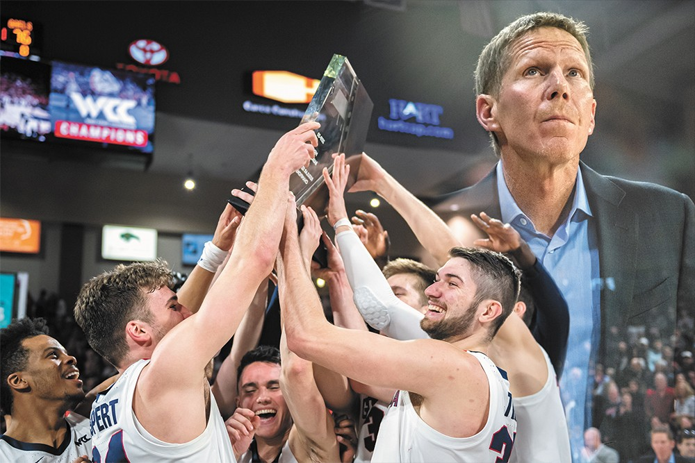 Raising championship trophies is the norm in the Mark Few era at Gonzaga University. - ERICK DOXEY PHOTOS/DEREK HARRISON PHOTO ILLUSTRATION