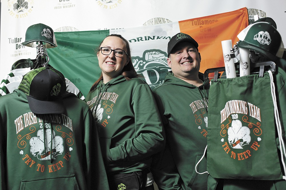 Shannon Dickenson and Greg Brunette of the Irish Drinking Team. - YOUNG KWAK PHOTO