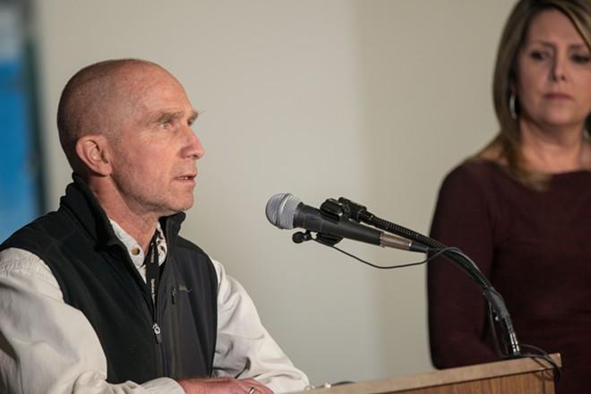 Spokane Regional Health Department officer Bob Lutz updates the public on the state of Coronavirus - DANIEL WALTERS PHOTO