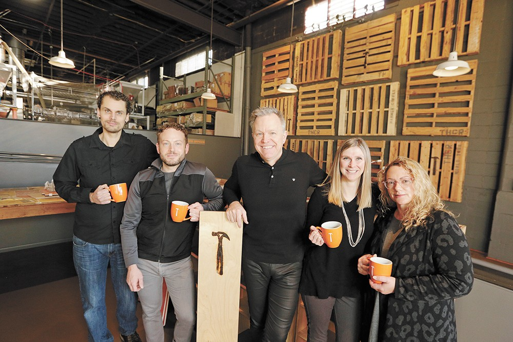 FROM LEFT: Roastmaster Jared Veselits, corporate trainer Chris Anderson, CEO Thomas Hammer, director of sales Amanda Millican and vice president of retail Janet Williams. - YOUNG KWAK PHOTO