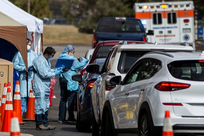 Members of the public are tested at a drive-through testing location for the coronavirus,  at the Colorado Department of Public Health and Environment Laboratory Services Division in Denver, Colo., Thursday, March 12, 2020. - CHET STRANGE/THE NEW YORK TIMES