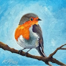 Katie Frey works in acrylic paint on her piece First Robin of Spring. - KATIE FREY