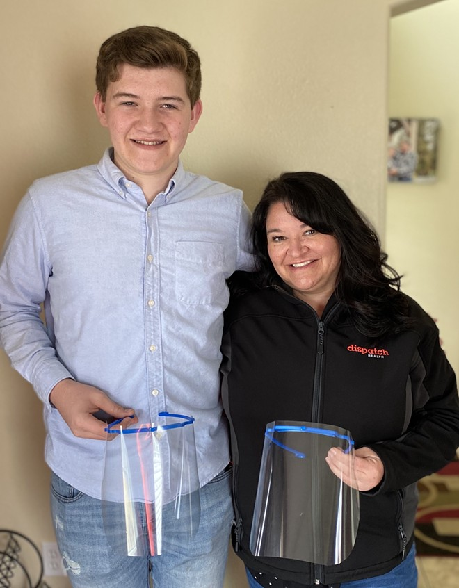 Connor Duncan, 16, is using his 3D printer and that of a neighbor to print face shields for his mom, Christina Duncan, a nurse practitioner, and her in-home health care team in Spokane. - PHOTO COURTESY OF THE DUNCANS