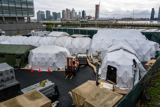 A temporary morgue set up outside the office of the chief medical examiner in New York on April 4, 2020. - JONAH MARKOWITZ/THE NEW YORK TIMES