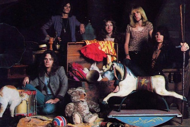 Aerosmith circa 1975, in a Toys in the Attic publicity shot. - COLUMBIA RECORDS