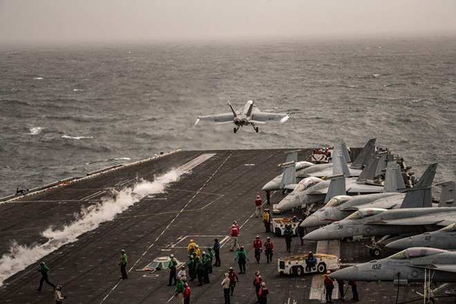 The carrier Abraham Lincoln in the North Arabian Sea, Aug. 10, 2019. President Donald Trump said on Wednesday, April 22, 2020, that he has told the Navy to shoot down and destroy any Iranian fast boats that harass American naval ships, in what would be a sharp escalation of the risky maneuvers performed by the two adversaries in the Persian Gulf and the Arabian Sea. - BRYAN DENTON/THE NEW YORK TIMES