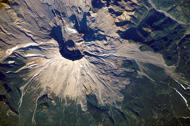 Mount St. Helens shown from the International Space Station in 2002. - NASA