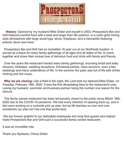 Prospectors' farewell message (click to expand).
