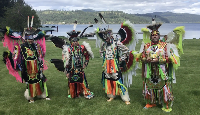 """Coeur d'Alene tribal member and former police officer Butch Nomee, right, and his sons protested the killing of George Floyd with a traditional """"fancy dance."""" - SHAINA NOMEE PHOTO"""