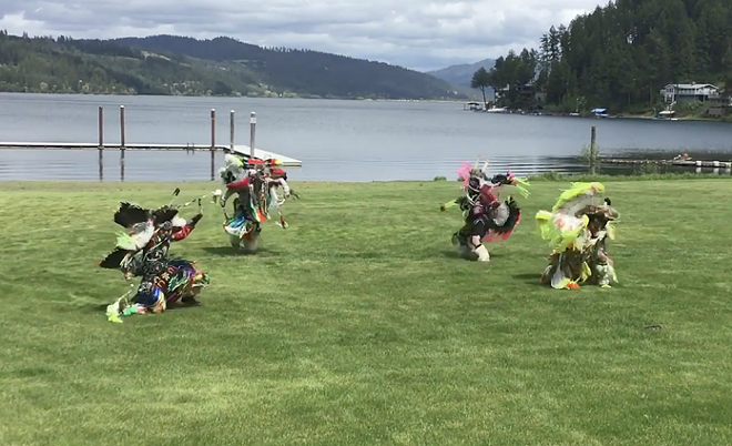 Nomee and his sons' spiritual dance for George Floyd was a prayer for peace. - SHAINA NOMEE PHOTO