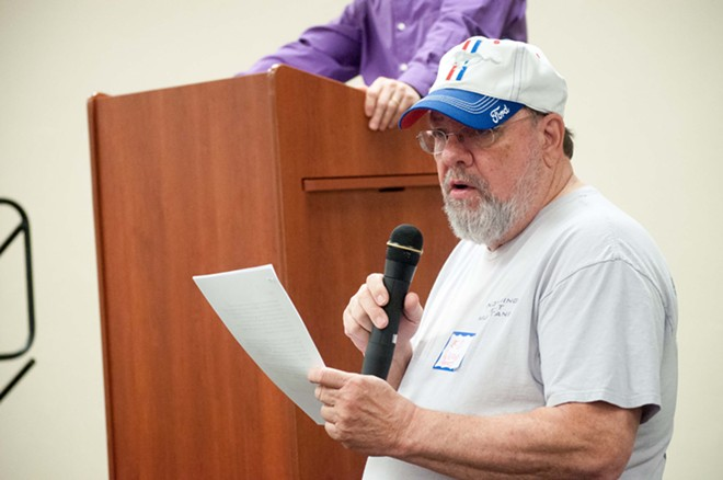 Ed Wood — who would go on to become the Spokane County Democrats' chair — speaks at a 2017 meeting, - DANIEL WALTERS PHOTO