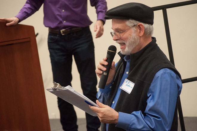 Former Spokane County Democrats State Committeeman Ed Duhaime at a 2017 meeting of Democrats. - DANIEL WALTERS PHOTO