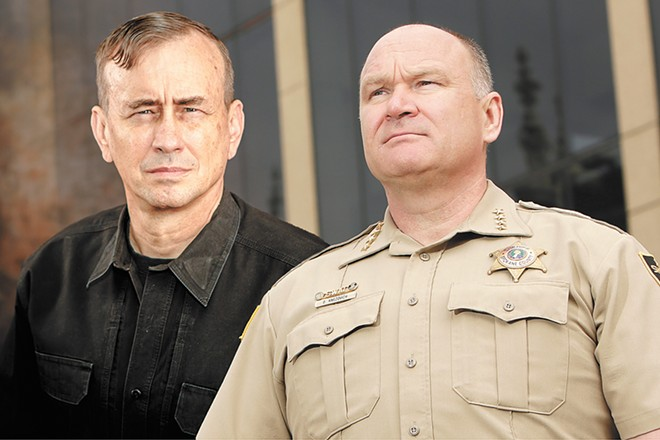 "Dave Grossman, left, whose training he dubs ""Killology,"" and Spokane County Sheriff Ozzie Knezovich, who's a supporter of Grossman's viewpoint."
