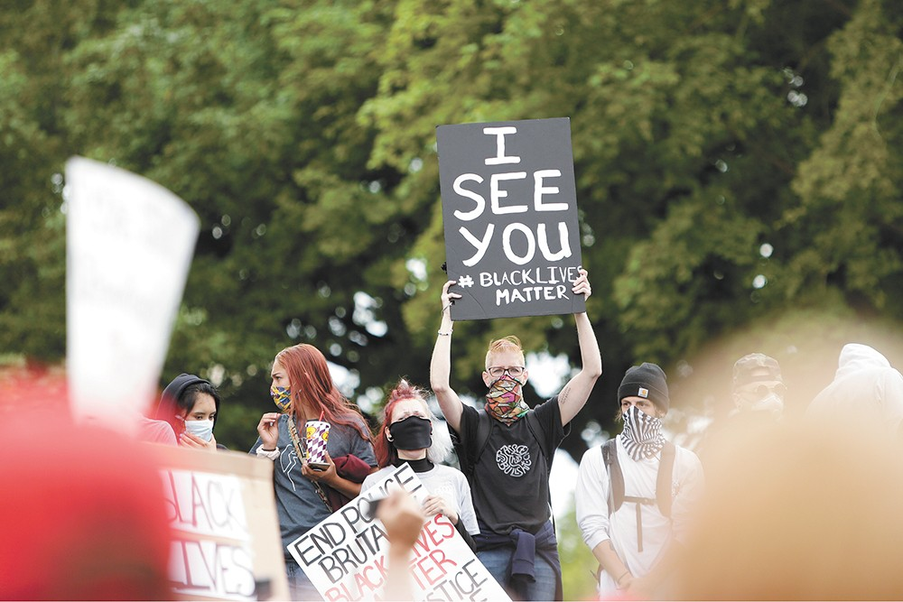 Demonstrators in Spokane on May 31. - YOUNG KWAK PHOTO