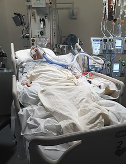 When he could no longer breathe, Butch De Angelis was put on a ventilator at Providence Sacred Heart hospital. - LACY RUSSELL PHOTO