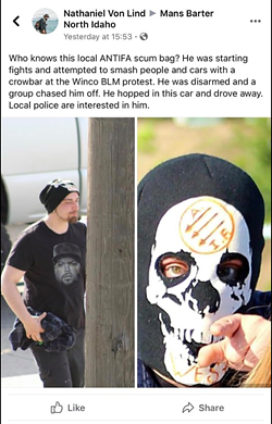 "Right-wing activists in Coeur d'Alene shared pictures of a protester in an antifa skull mask to identify him on Facebook. The video footage contradicts the claims that the protester ""attempted to smash people and cars."" - FACEBOOK SCREENSHOT"