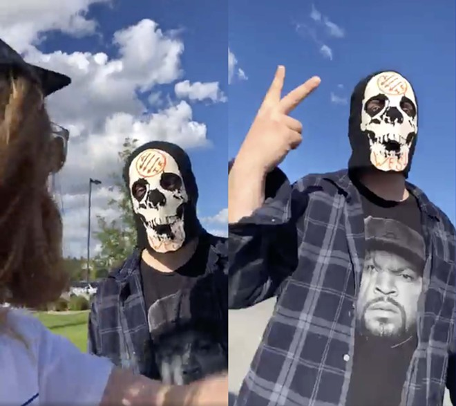 Two screenshots from a video recorded by Black Lives Matter supporter Sam Rowland show a man with a skull mask and an antifa logo at a June 1 Coeur d'Alene protest. - FACEBOOK VIDEO SCREENSHOT