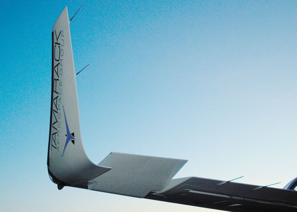 The wing extension can move a connected flap in a fraction of a second to react to weather conditions and reduce different stress on the wing. - TAMARACK AEROSPACE GROUP PHOTO
