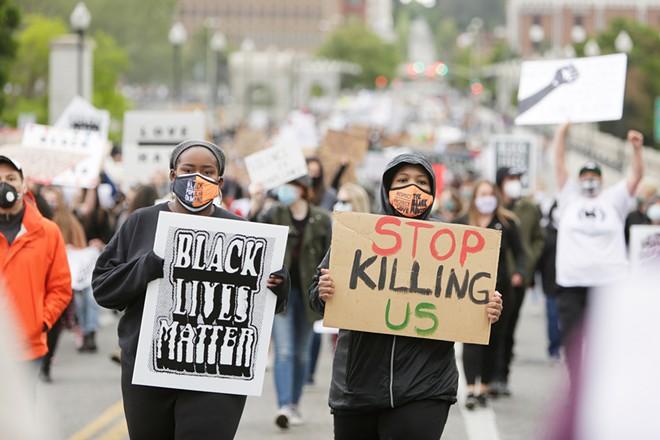 Demonstrators gather in Spokane on June 7. - YOUNG KWAK PHOTO