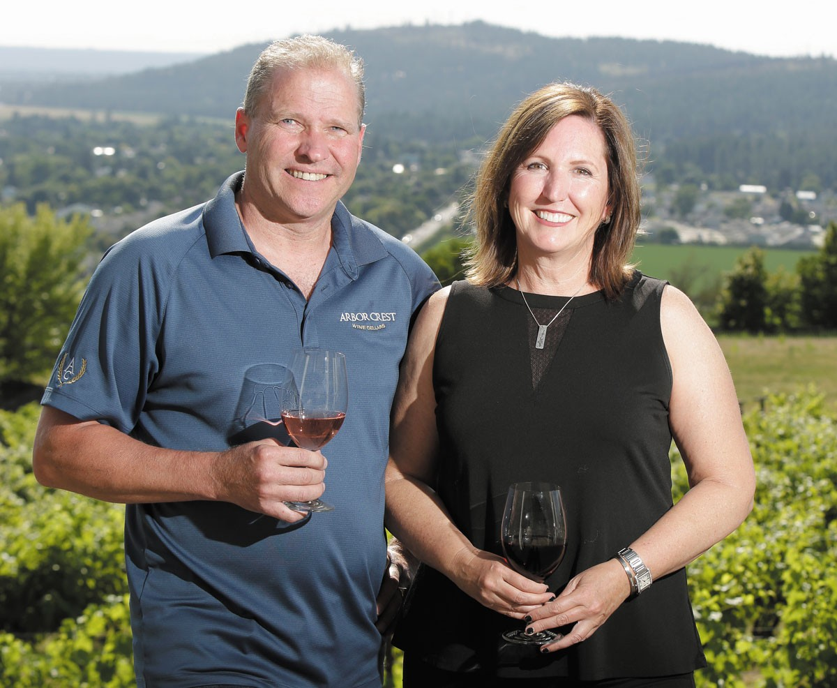 Jim and Kristina van Loben Sels team up to run Arbor Crest winery; she specializes in wine making while he works on concert and event planning. - YOUNG KWAK PHOTO