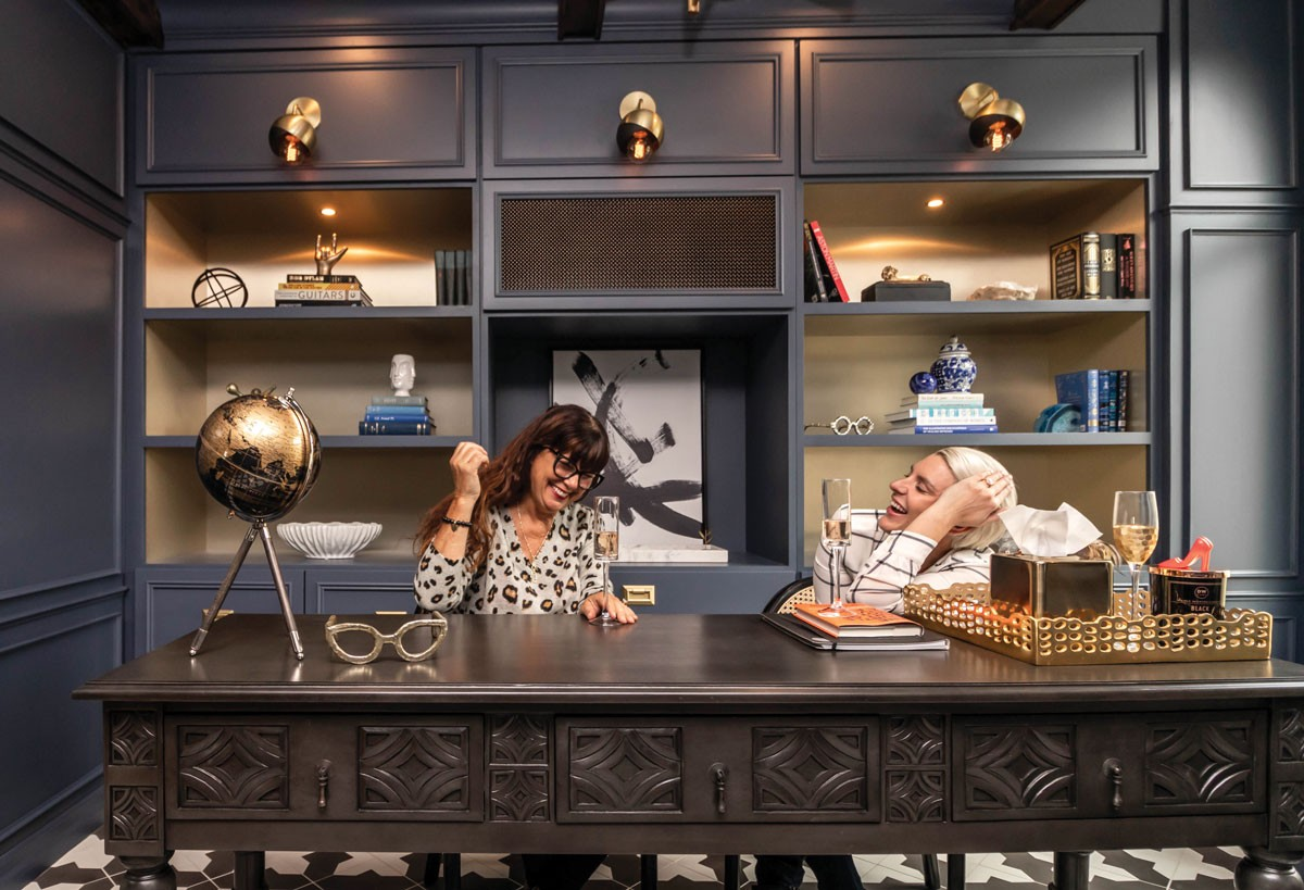 Designer Erin Haskell Gourde (right) enjoys a laugh with Eileen Barbieri, in her newly designed home office. - PHOTO COURTESY OF DESIGN FOR THE PPL