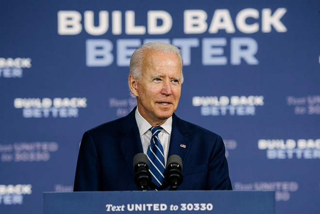 Former Vice President Joe Biden, the Democratic Party's presumptive presidential nominee, speaks at a campaign event in New Castle, Del., July 21, 2020. Biden's campaign has announced a $280 million fall advertising blitz, outlining plans for $220 million in television and $60 million in digital ads across 15 states in the lead-up to the November election. - HANNAH YOON/THE NEW YORK TIMES