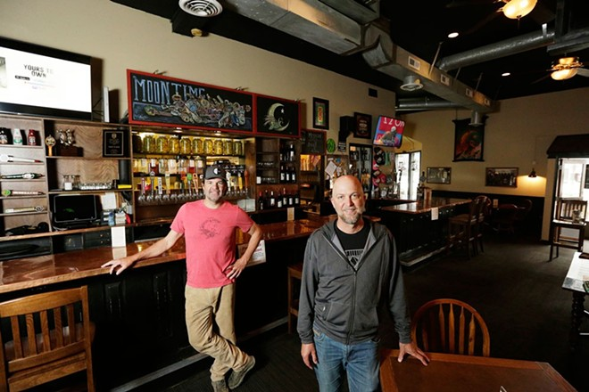 Owners Brad Fosseen (left) and John Grollmus, photographed here at Moon Time earlier this year, have made the difficult decision to permanently close Geno's after this weekend. - YOUNG KWAK PHOTO