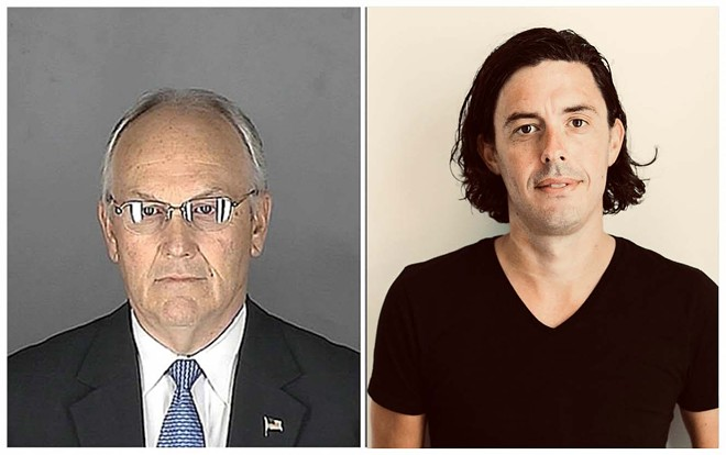 Former Idaho Sen. Larry Craig's arrest (left) convinced Republican communications staffer Tim Miller (right) to come out as gay. - LARRY CRAIG MUGSHOT; SOPHIE BERARD PHOTO OF TIM MILLER