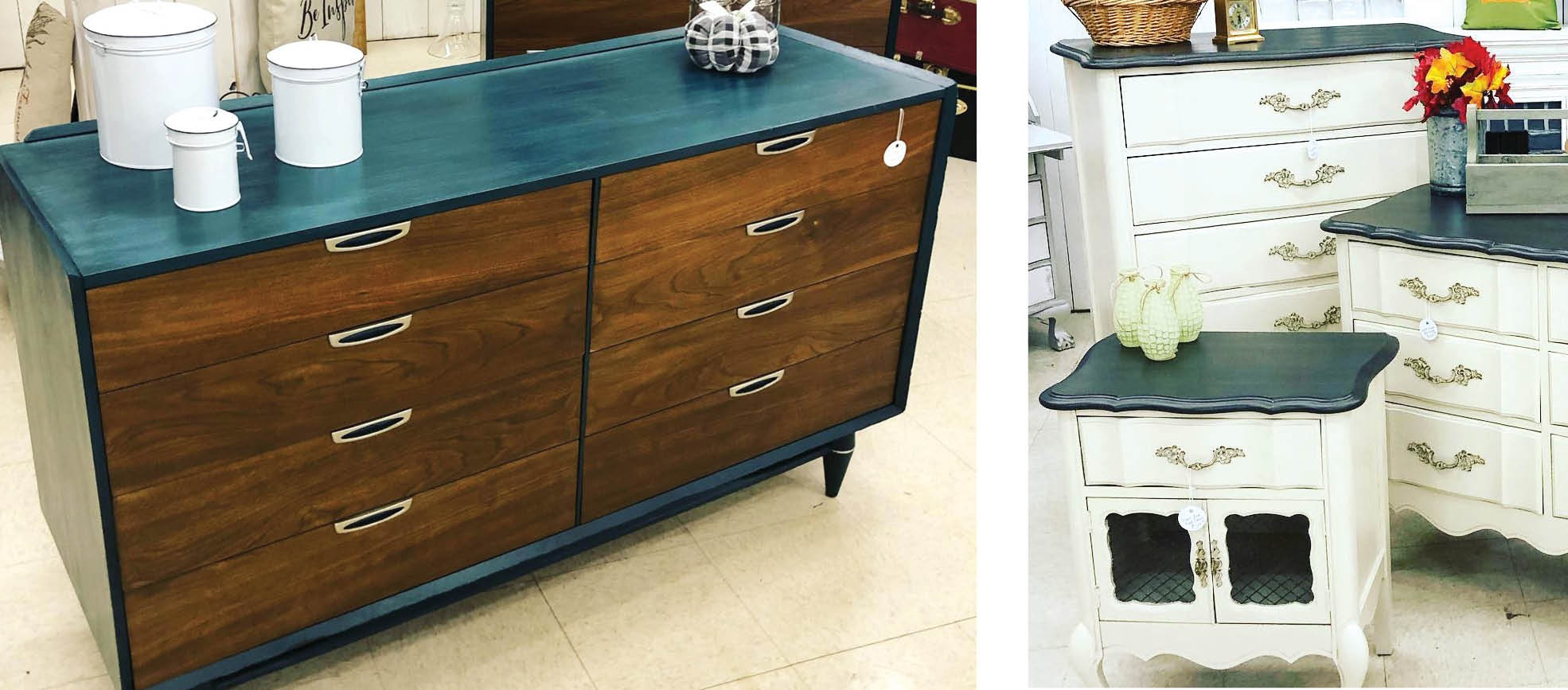 Deep blue-green offset dark wood (above) or peasant cream (right) in these reworked chests of drawers at Midtown Home & Vintage.  Midtown Home & Vintage Photos