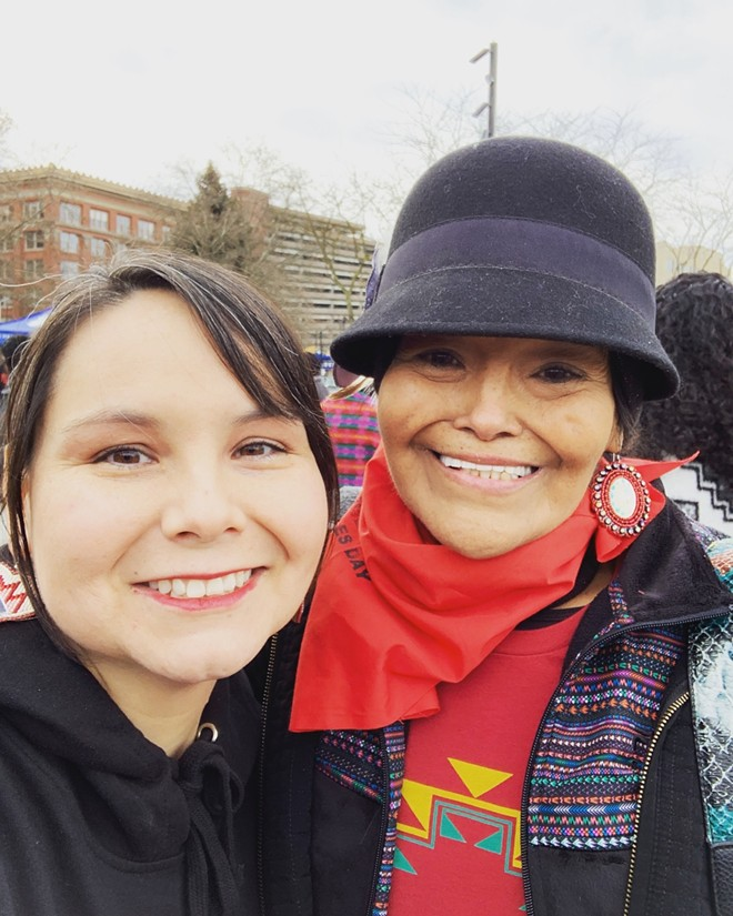 Deb Abrahamson, right, and Tara Ramos in Spokane at the march in solidarity with the Indigenous Peoples March on Washington, D.C., on Jan. 19, 2019.