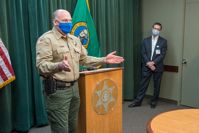 In a press conference last Tuesday, Sheriff Ozzie Knezovich calls for Medical Reserve Corps volunteers to prepare the region for a potential COVID-19 worst-case scenario. - DANIEL WALTERS PHOTO