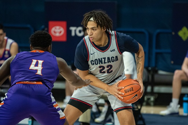 Gonzaga Prep grad Anton Watson had a career high against Portland Saturday, one of many Zags to shine in the blowout win. - ERICK DOXEY