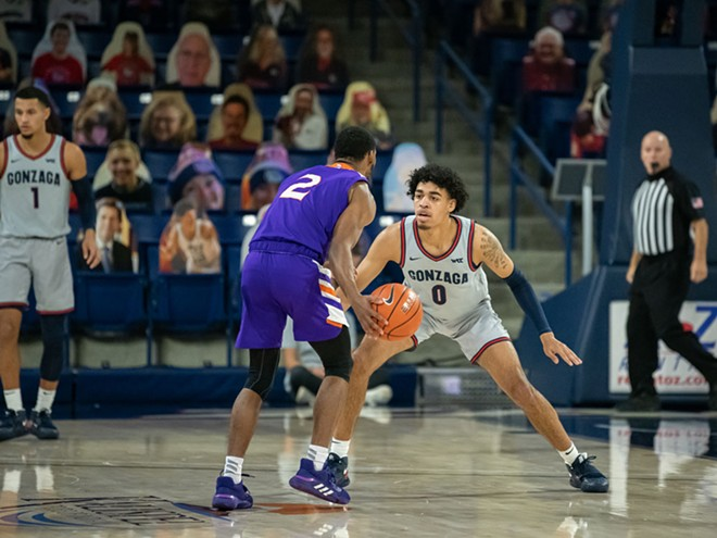 """Guard Julian Strawther and his fellow Zags will need to """"D up"""" to reach their full potential."""