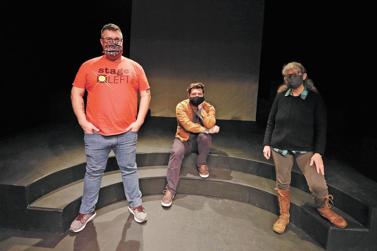 FROM LEFT: Stage Left Managing/Artistic Director Jeremy Whittington, actor Robert Tombari and An Iliad director Susan Hardie - YOUNG KWAK PHOTO