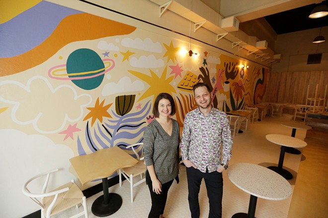 Alyssa Agee, left, and Aaron Hein, co-owners of People's Waffle, at their new downtown Spokane restaurant set to open this spring. - YOUNG KWAK