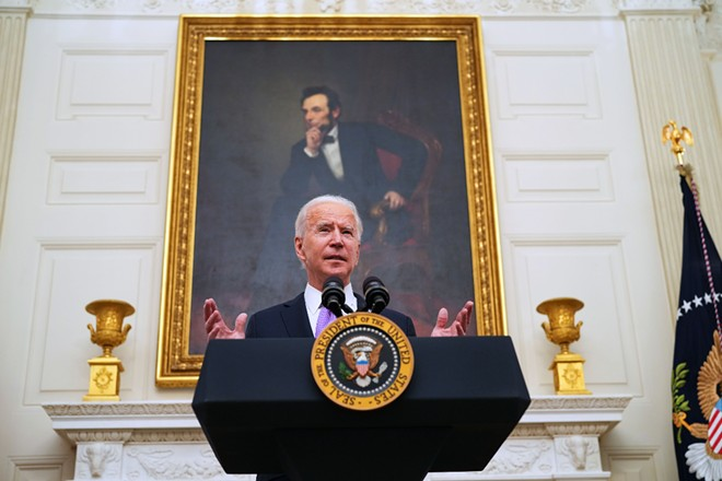 President Joe Biden talks about his administration's COVID-19 response during an event at the White House in Washington on Thursday, Jan. 21, 2021. - DOUG MILLS/THE NEW YORK TIMES