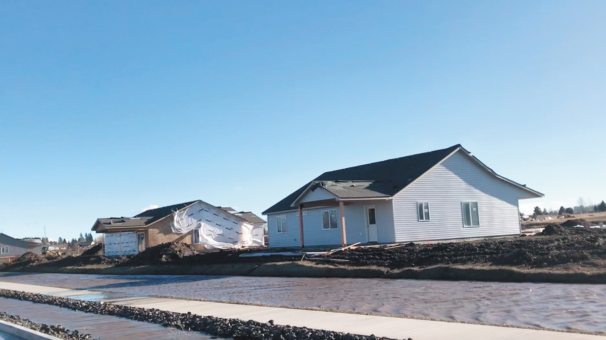 A video recorded by Terry Horne shows water pools in front of brand new construction near the newest West Terrace homes in January. Flooding in the area has prompted in-depth stormwater studies to find solutions as the West Plains continues to grow.