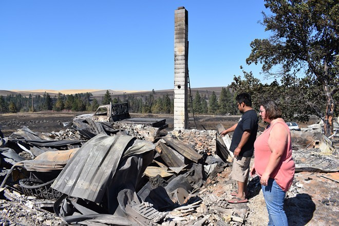 Many homes in Malden, Wash., were destroyed in a Labor Day fire in 2020. Some homes with greener gardens and less fire-prone vegetation survived, showing the need for investments in fire-safe projects around homes and communities. - WILSON CRISCIONE PHOTO