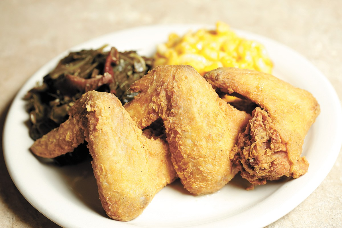 The Soul Lounge's fried chicken with greens and macaroni and cheese. - YOUNG KWAK PHOTO