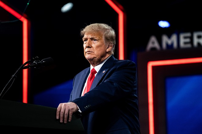 Former President Donald Trump speaks at the Conservative Political Action Conference in Orlando, Fla. on Feb. 28, 2021. Facebook's Oversight Board, an independent and international panel that was created and funded by the social network, plans to announce on Wednesday, May 5, 2021, whether former President Donald Trump will be able to return to the platform that has been a critical megaphone for him and his tens of millions of followers. - ERIN SCHAFF/THE NEW YORK TIMES