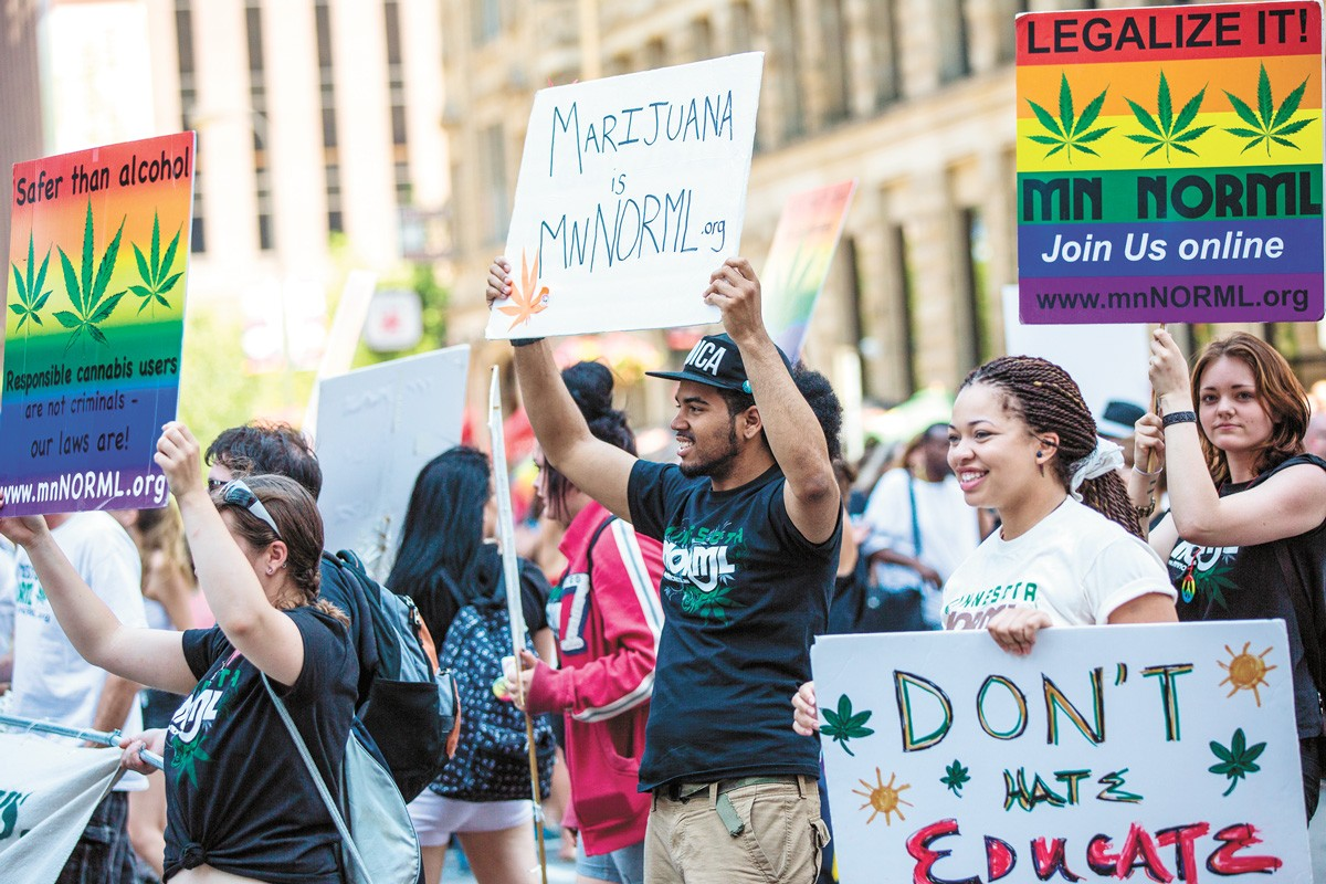Cannabis legalization advocates demonstrate in downtown Minneapolis in 2013. - TONY WEBSTER/CC BY-SA 2.0 PHOTO