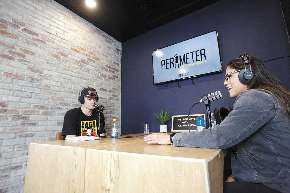 Host Adam Morrison interviews Ultimate Fighting Championship competitor Julianna Peña for an episode of The Perimeter. - YOUNG KWAK PHOTO
