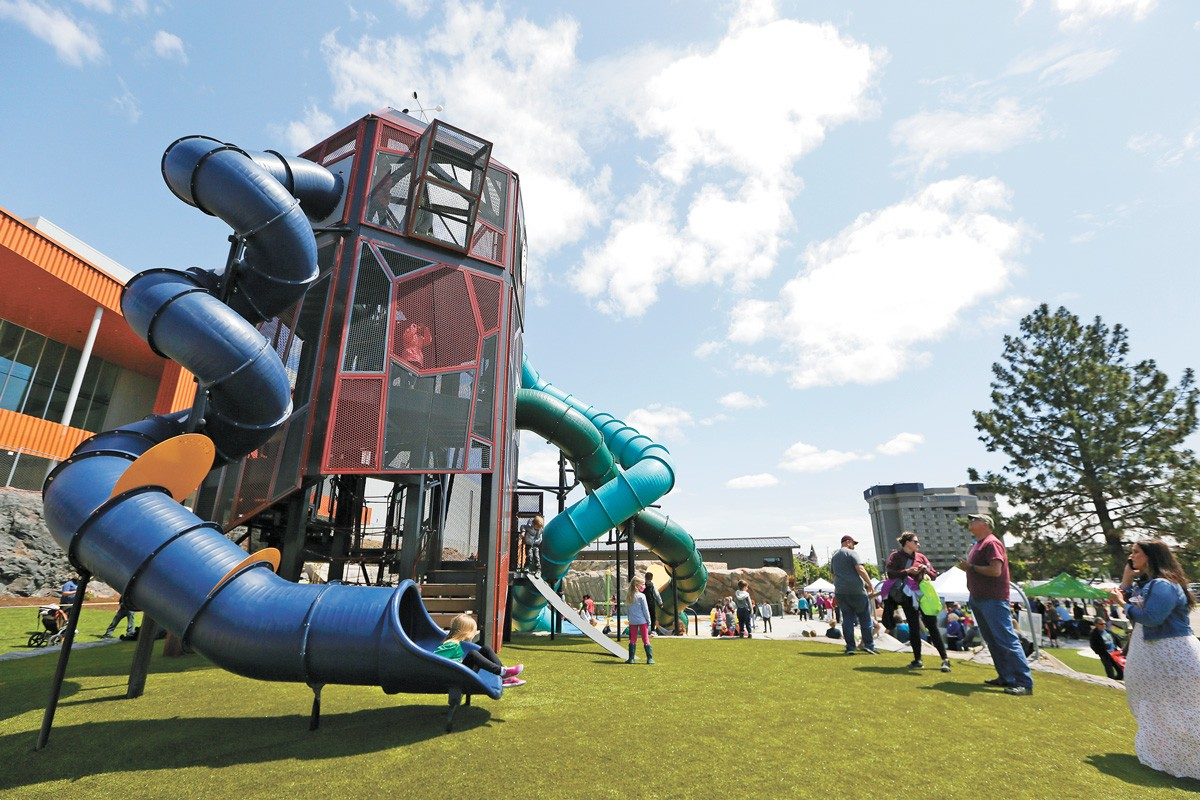 The three-story slide at the new North Bank area of Riverfront Park. - YOUNG KWAK PHOTO