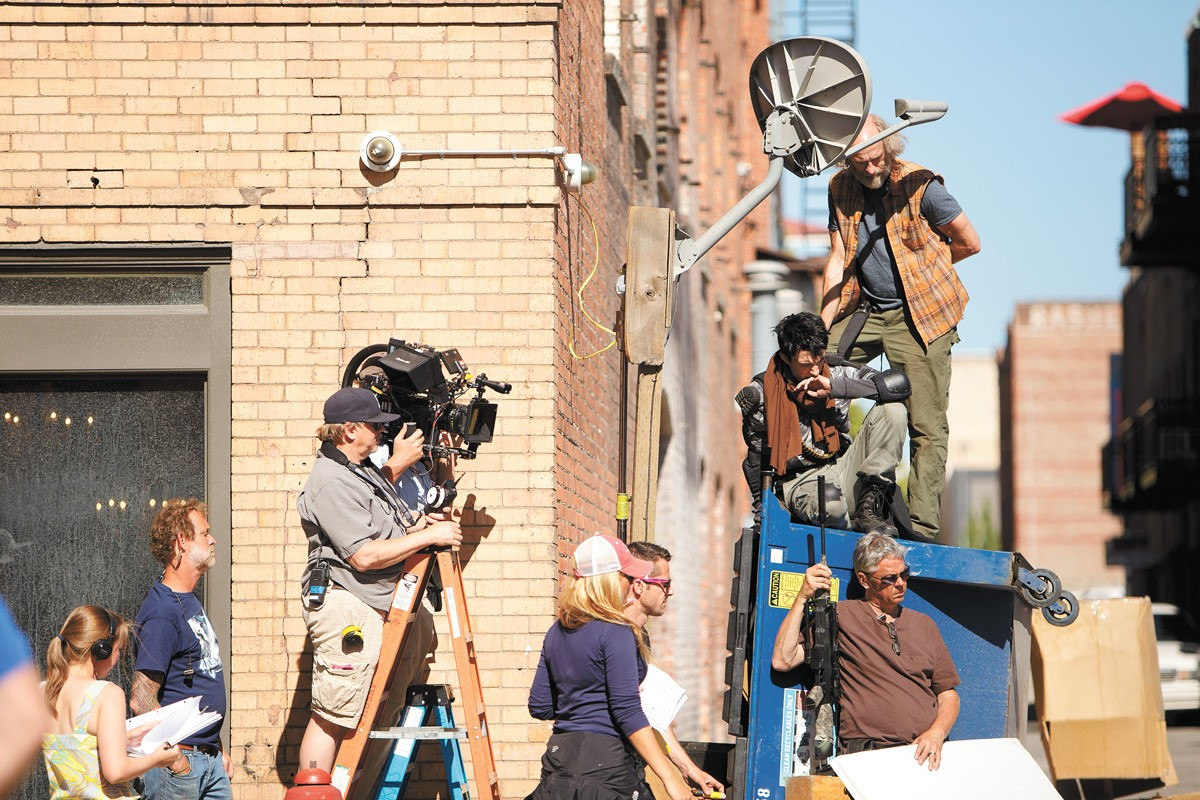 A film crew on the set of Z Nation in downtown Spokane. - YOUNG KWAK PHOTO